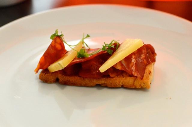 Chorizo, manchego & romesco on toasted focaccia