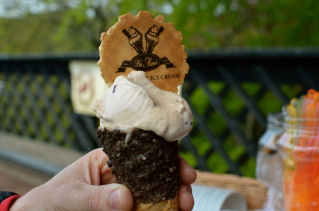 salted caramel ice cream in an oreo cone!