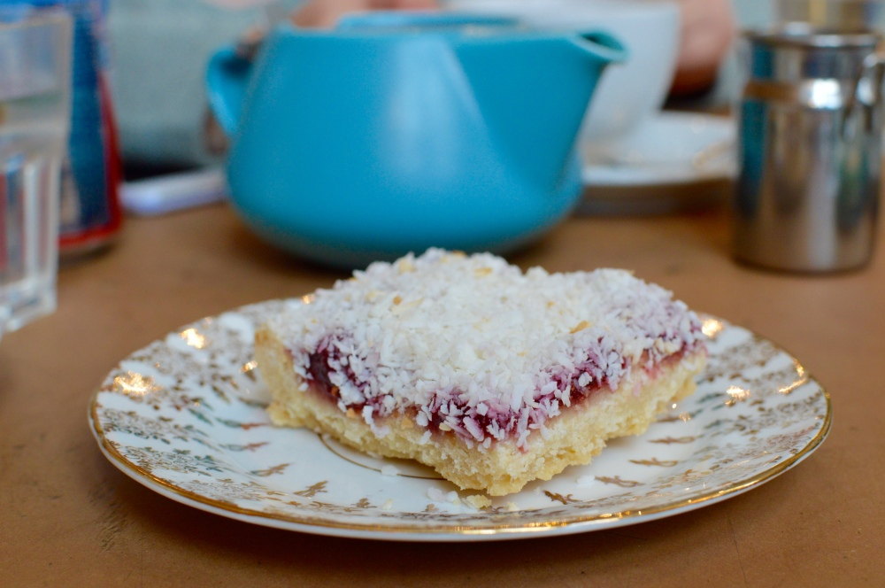 The raspberry and coconut slice