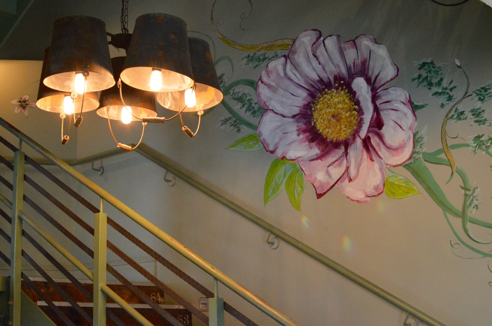 The Botanist Newcastle, floral painted walls