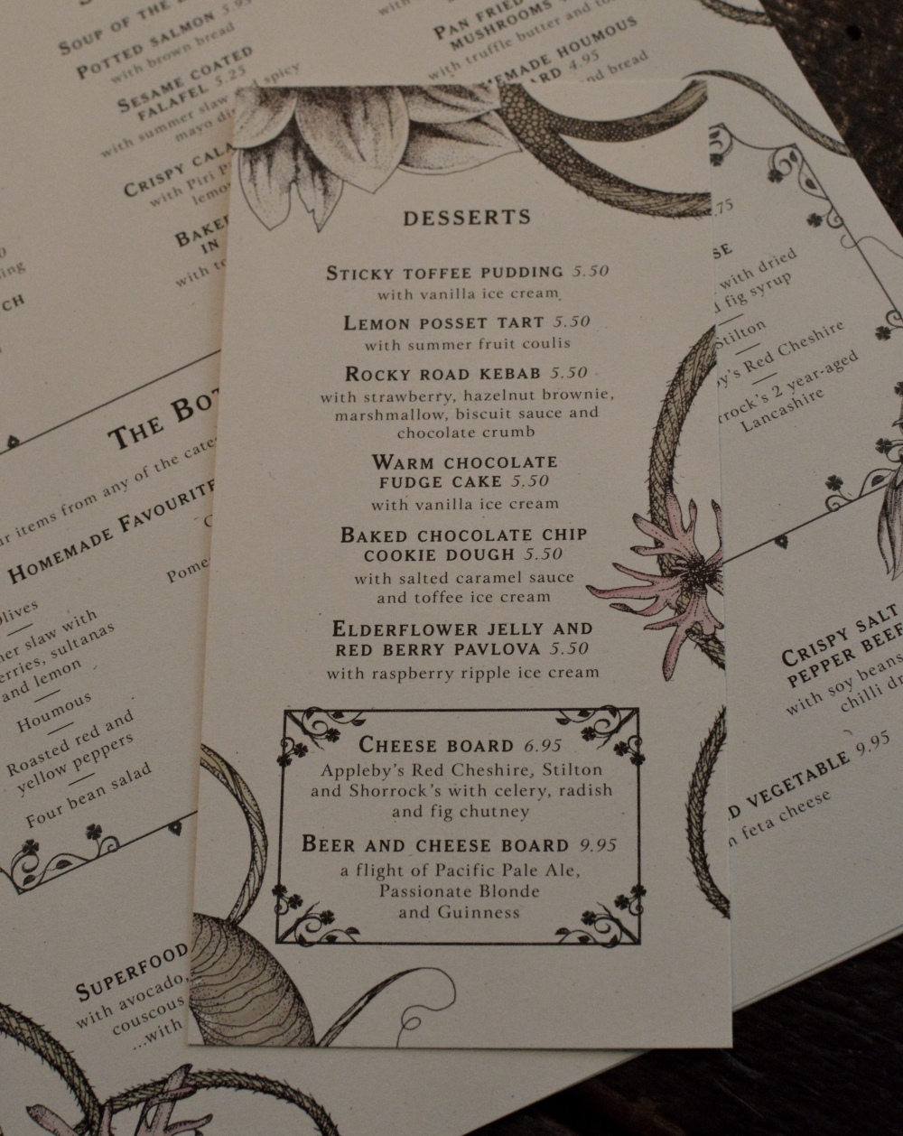 Dessert Menu - The Botanist