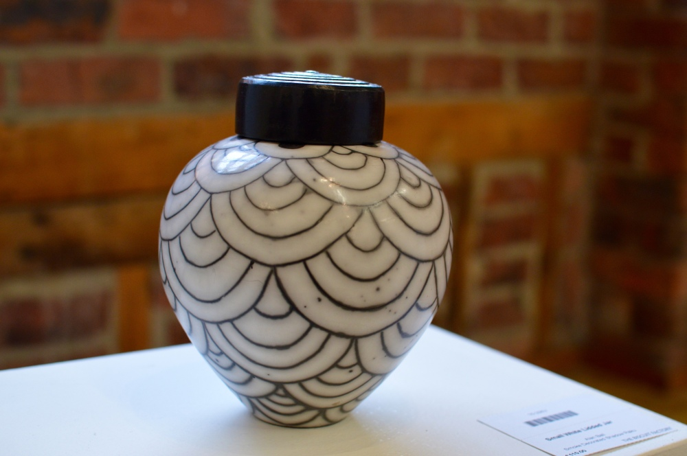 Small White Lidded Jar - Alan Ball - The Biscuit Factory