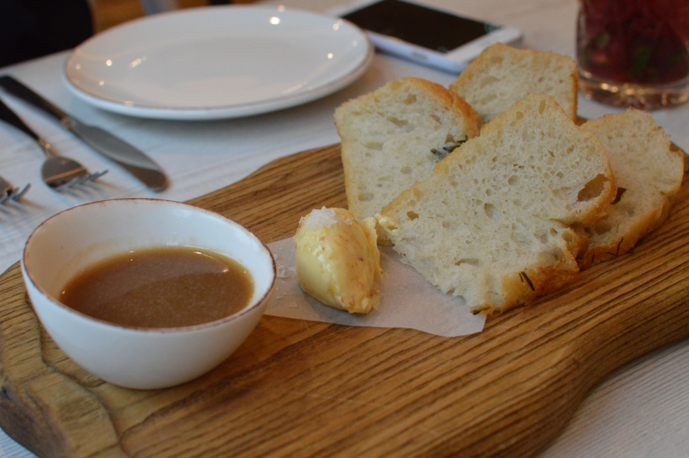 Warm focaccia bread, house whipped roast chicken butter, dipping gravy